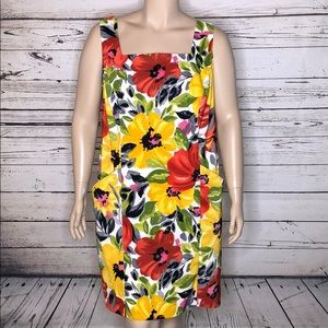 Dressbarn 18W Floral 2 Pocket Cut-Out Back Dress